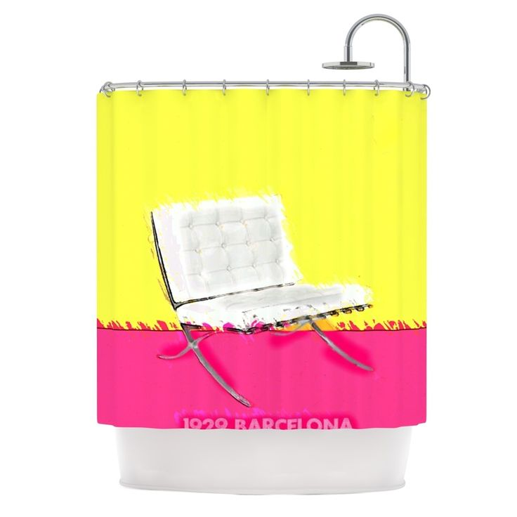 Kess InHouse Oriana Cordero Barcelona Chair Pink Yellow Shower Curtain