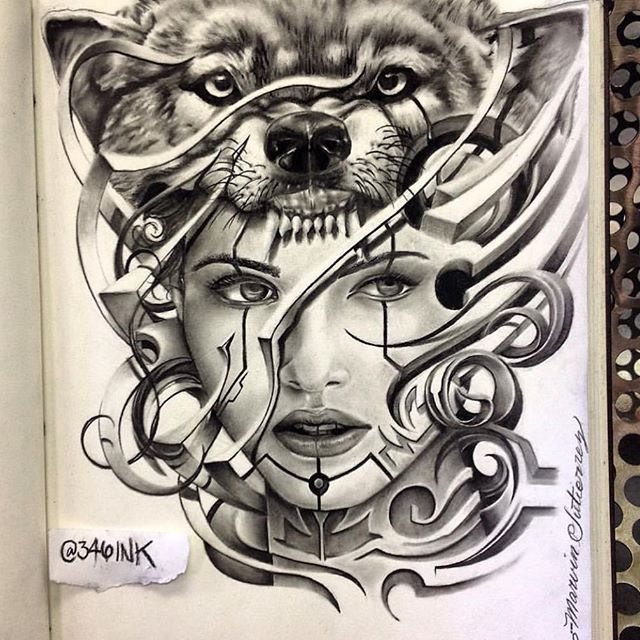 Here's a repost of the last drawing I completed, gonna be tattooing this real soon....can't fuckin wait....anyone interested in a custom design, shoot me your concept and I'll draw something just for u....in my, I guess, style....or whatever style you want.......freehand girl with a wolf on her head.....thanks for looking…