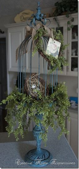 Birdcage. Put twigs/moss in bottom and branch reaching to top. Decorate with hobby lobby birds. Nest with eggs. Bookshelf decoration.