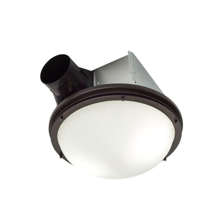Nutone Invent Decorative Oil Rubbed Bronze 80 Cfm Ceiling Exhaust Fan With Light And White Globe