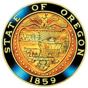 "The state seal of Oregon displays a shield supported by 33 stars (Oregon was the 33rd state to join the Union). The seal is divided by a ribbon with the inscription ""The Union"" (adopted as Oregon's motto in 1957, but replaced in 1987 with ""She Flies With Her Own Wings"")."