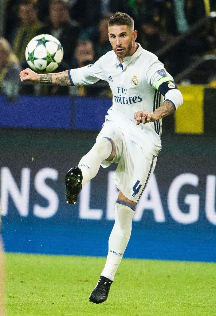 Real Madrid's defender Sergio Ramos controls the ball during the UEFA Champions League first leg football match between Borussia Dortmund and Real Madrid at BVB stadium in Dortmund, on September 27, 2016.