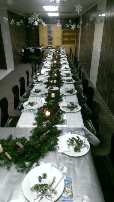 Christmas table decoration. Winter ideas.
