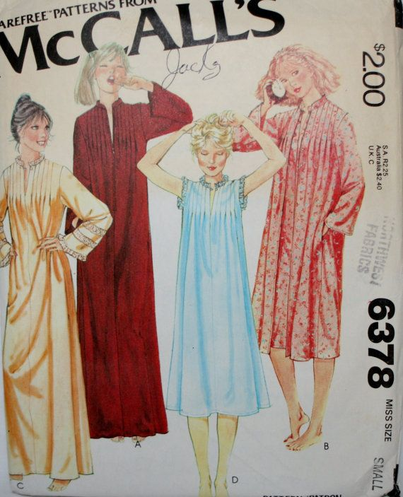 McCalls 6378 Vintage Robe and Nightgown Sewing Pattern Size Small 10-12  2 Nightgown variations  2 Robe Variations  Long robe with front zipper