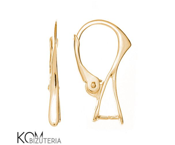 Gold leverback earring kz 2. 585 gold leverback earring ideal for necklaces, bracelets and earrings. Fits Swarovski crystals and other stones, gems and charms.