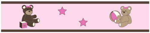 Pink and Chocolate Teddy Bear Girls Baby and Kids Wall Border by Sweet Jojo Designs Sweet Jojo Designs,http://www.amazon.com/dp/B003BQQ2J8/ref=cm_sw_r_pi_dp_Q5i5sb0EP9F40YH2