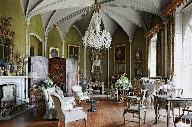 The circa-1810 Gothic Saloon at Birr Castle, the ancestral home of the Parsons family in Ireland's County Offaly, is crowned by a shimmering chandelier. | Architectural Digest