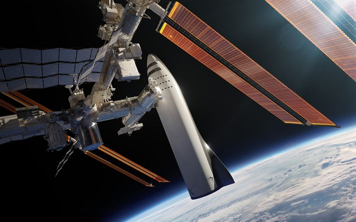 Download wallpapers Earth, SpaceX, ISS, International Space Station, spacecraft, Mars