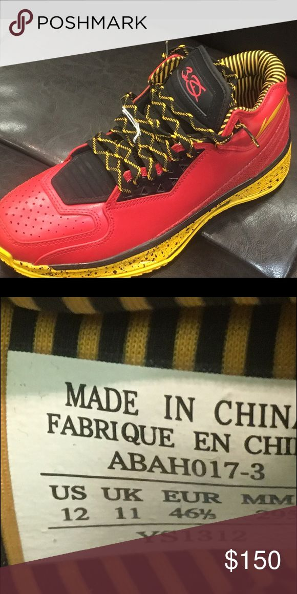 """Li Ning Way of Wade WoW Code Red Gold Yellow Dwyane Wade and Li-Ning - Li-Ning Way of Wade 2 """"Code Red"""" designed by Eric Miller.   Features a Red base with a Black tongue sitting atop a Yellow speckled midsole finished with special details throughout. Dwyane Wade and  Li-Ning Shoes Sneakers"""
