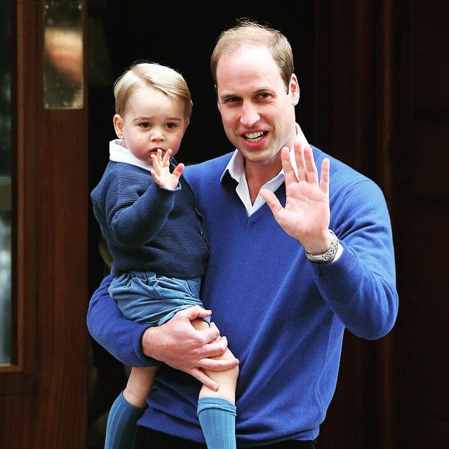 Prince George waves to the public and media as he visits the Lindo Wing at St. Mary's Hospital to meet his little sister for the first time.
