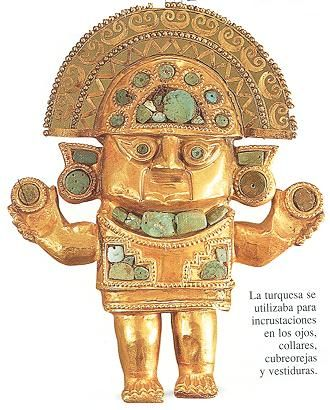 peruvian art   The Turquoise was used for inlays in the eyes, necklaces, ear covers ...