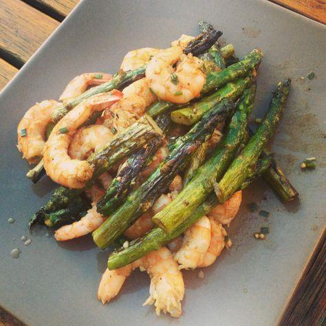 Gambas et asperges vertes à la Plancha @ Les recettes de Ninon