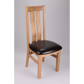 Boston Solid Oak Dining Chair with Genuine Leather Pad  www.easyfurn.co.uk