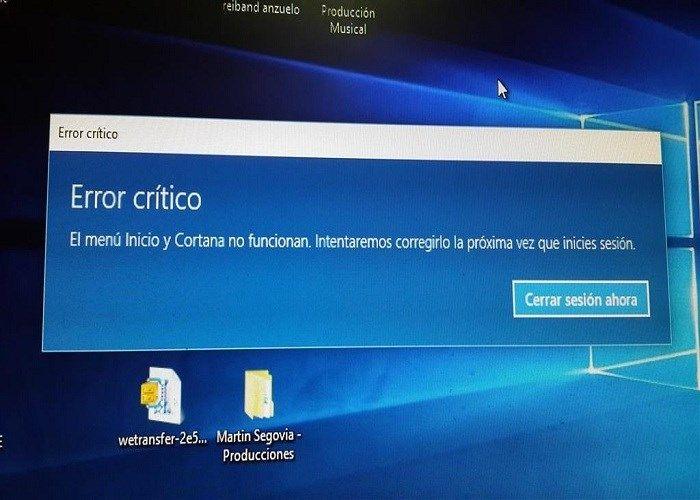 Conoce otra solución al error crítico de Menú de Inicio y Cortana de Windows 10