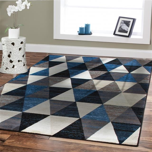 Premium Large Rugs 8x11 Modern Rugs For Brown Sofa Blue