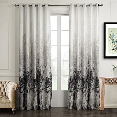 Anady Top Drapes Set of 2 PanelsPairPolyester Watercolor Painting Art Tree and Sliver Dots Shine Window Curtains Grommet Top72W by 96LInches Each Panel *** Learn more by visiting the image link.