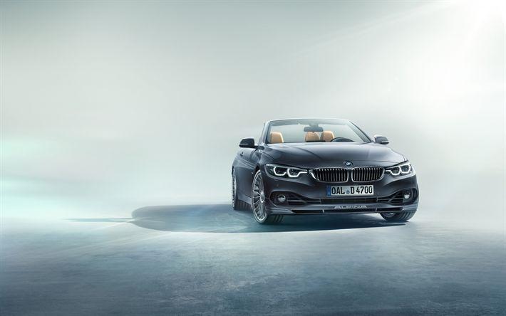 Download imagens BMW Série 4 Alpina, B4 Biturbo, Cabriolet, 2017, Ajuste, conversível BMW M4, vista frontal, Carros alemães, BMW
