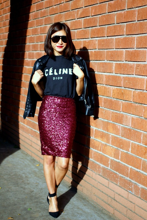 celine dion Fashion, Style, Sequin pencil skirt