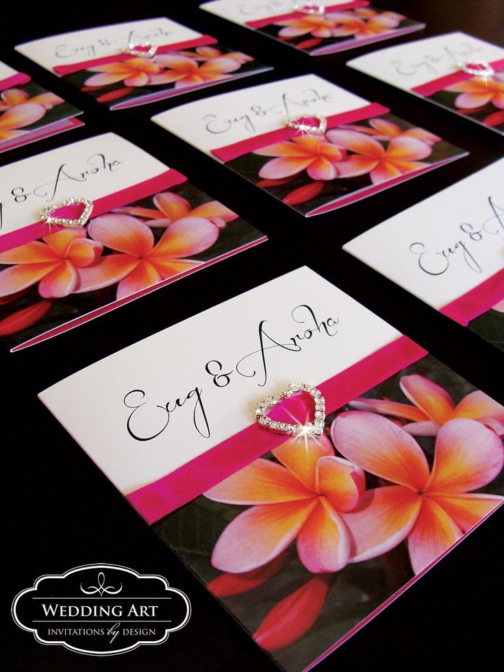 Pink Frangipani Wedding invitation with satin ribbon a heart diamante buckle/ribbon slider.