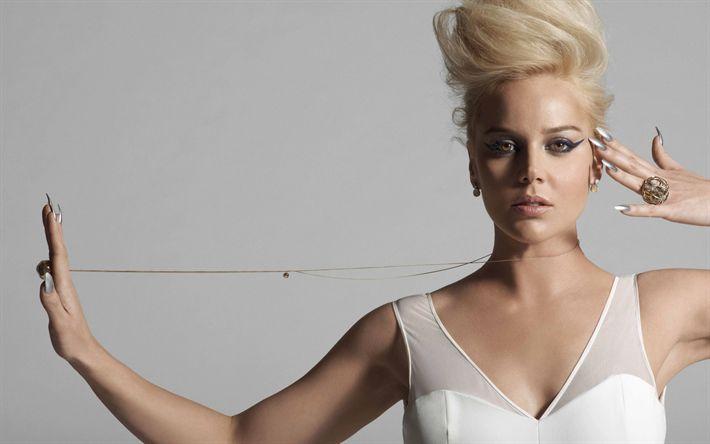 Descargar fondos de pantalla Abbie Cornish, la actriz australiana, retrato, maquillaje para una rubia, vestido blanco, mujer hermosa