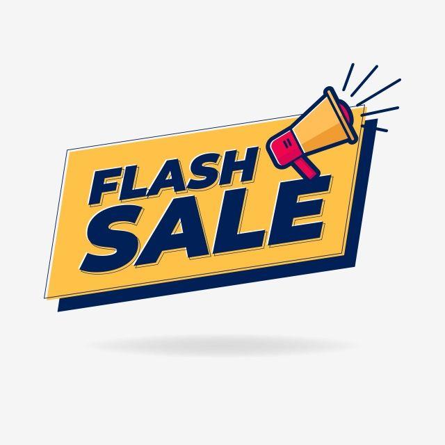 Flash Sale Banner With Loudspeaker Or Megaphone Template Design Vector And Png Sale Banner Promotional Design Sale Logo