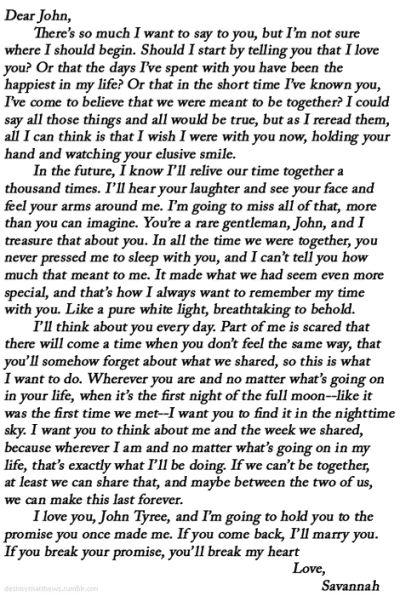 Dear John letter <3 My absolute favorite !!!