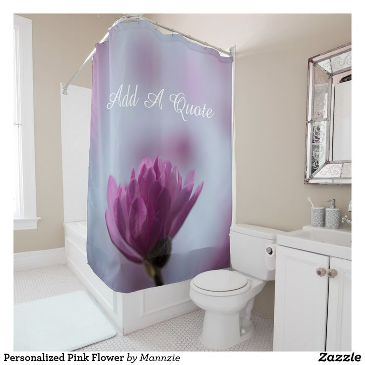 Personalized Pink Flower Shower Curtain