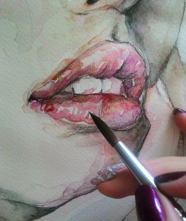 Любимые  красновато-коричневые  #губы  #Процесс #рисунок #акварель #живопись #painting #watercolor #lips #drawing #art