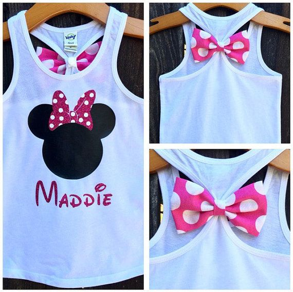 ***OUT OF STOCK SIZES WILL BE RESTOCKED ON OR BEFORE 8/24/15***  This super cute and sparkly bow back tank top is perfect for your next Disney trip!