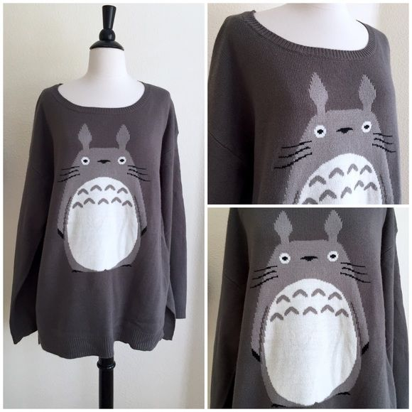 Totoro sweater size XL NWOT Ahhhh I love this sweater so much I almost don't want to part with it!! Sadly it's too big for me and I'm not a huge fan of the oversized look on myself. It's in perfect, new condition. Size XL. Be warned: this is oversized, not form fitting at all. Hot Topic Sweaters Crew & Scoop Necks