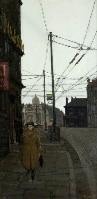 frank johnson(1917–98), manor row, bradford, c.1954. oil on board, 101.6 x 50.8 cm. glasgow museums, uk http://www.bbc.co.uk/arts/yourpaintings/paintings/manor-row-bradford-84666