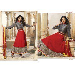 Buy Dinnar Georgette Grey and Red Semi Stitched Salwar Suit at Socrase.com