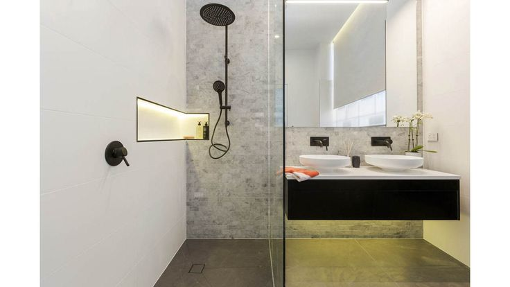 Storage is definitely accounted for in The Block challenge apartment Master Ensuite by Andy & Ben. The integration of a niche in the shower and ample vanity storage to ensure that everything has a place.