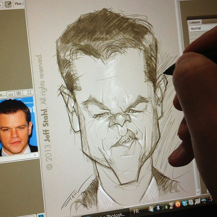 matt damon caricature sketch