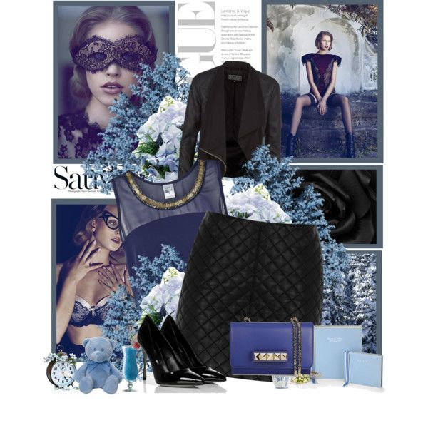 """Untitled #36"" by anett-keberlova on Polyvore #polyvore #outfit #newlook #blue #black #leather #veromoda #crop #croptop #oasis #sergiorossi #valentino #studs #douglas"