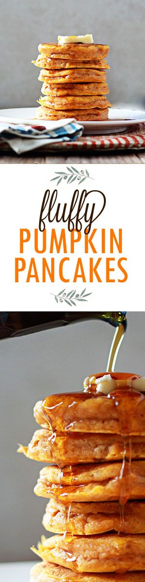 Usher in fall with these tall, fluffy, and moist pumpkin pancakes. The perfect pumpkin pancake recipe! From @kitchentreaty