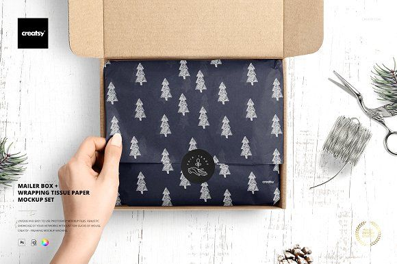 Download Mailer Box Tissue Paper Mockup Set By Creatsy5 On Creativemarket Paper Mockup Mailer Box Box Mockup
