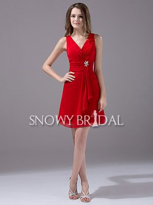 [US$61.19] Red Short Chiffon V-Neck A-Line Sleeveless Beach Bridesmaid Dress