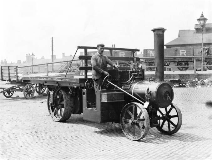 Steam lorry at Masborough, about 1900.