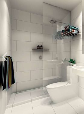 The Awesome Web For a simple look Large white tiles Kerry Phelan Design Similar layout of our small bathroom with a floating sink Would prefer a glossier finish to