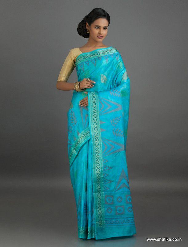 Alvira Cool Blue Modern #DesignBanarasi #TussarSilkSaree
