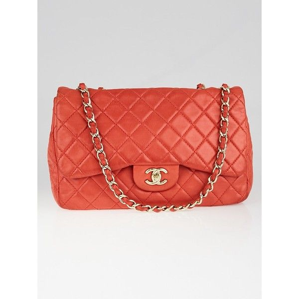 Pre-owned Chanel Red Quilted Washed Lambskin Leather Classic Jumbo... ($2,725) ❤ liked on Polyvore featuring bags, handbags, lambskin leather handbags, red handbags, lamb leather handbags, chanel purse and quilted handbags