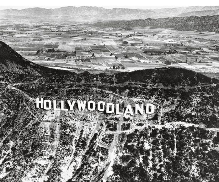 "The original ""Hollywoodland"" sign in 1923."