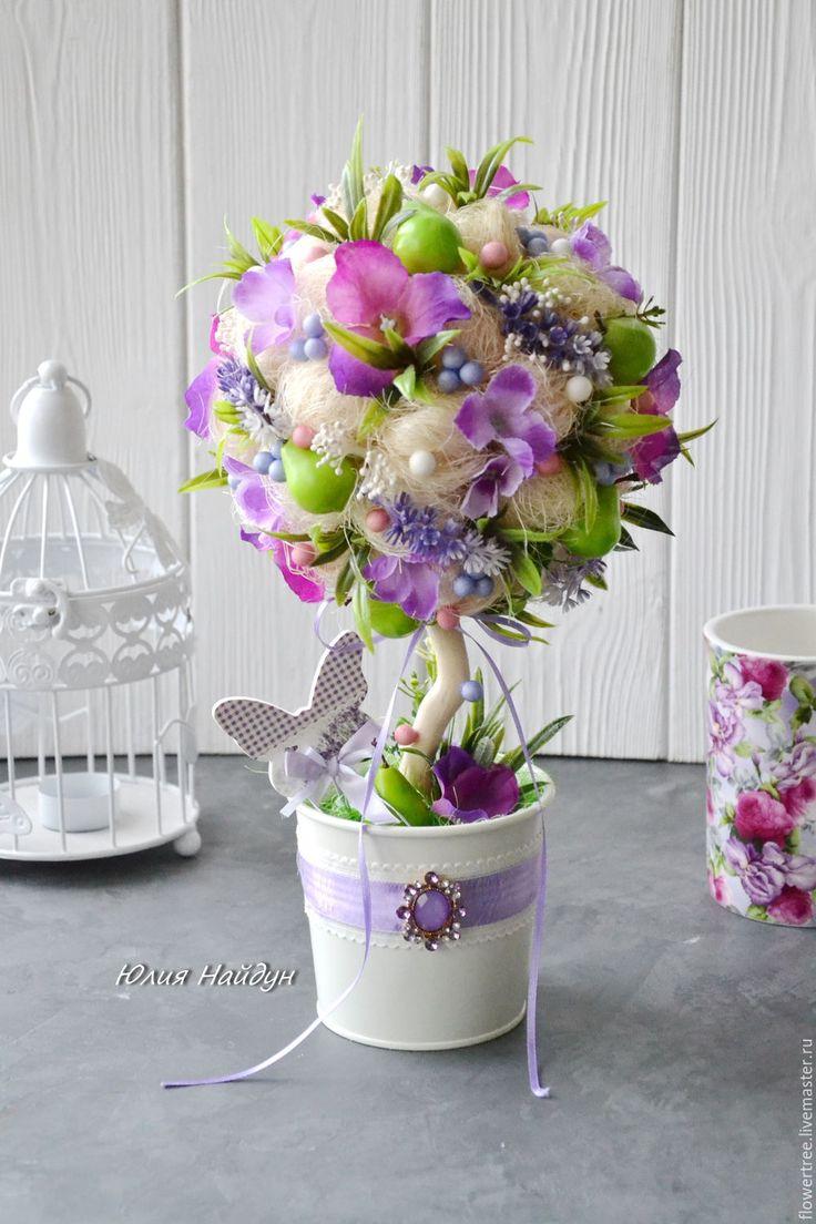 Купить или заказать Топиарий с цветами (дерево счастья) 38 см в интернет-магазине на Ярмарке Мастеров. Оригинальная и необычная композиция для интерьера - топиарий. Топиарий (дерево счастья) - это отличный подарок, украшение витрины, магазина, дома символизирует счастье и достаток, дарить его можно как на новоселье, на свадьбу, так и на любой повод, в том числе день рождения. Также, подобный подарок оценят при выписке из роддома. Это деревце отлично впишется в интерьер как кухни, так и…