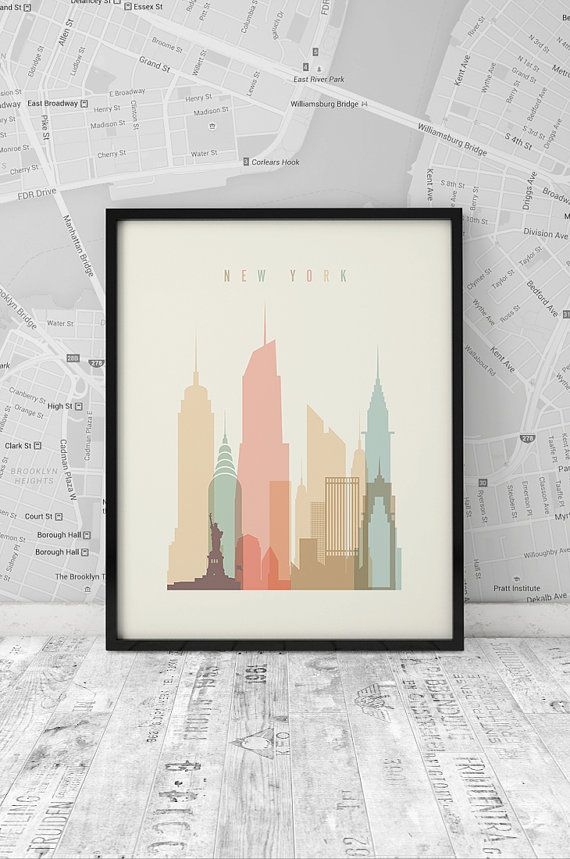 New York Print, Printable Poster Wall Art, Travel city Poster, wall decor, typography art , New York digital poster print, INSTANT DOWNLOAD.