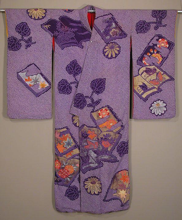 "Japanese Shibori Furisode Early Taisho period, 1912-1920. Young woman's kimono with tie-dye, yuzen dyeing, gold and silver surihaku, and silk embroidery.  50½""across shoulders; 58""long."