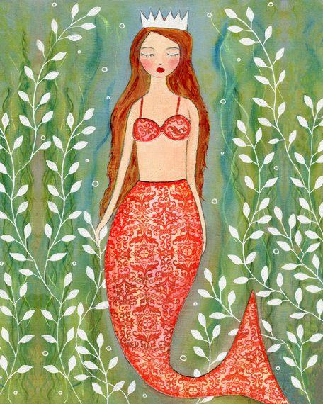 Mermaid Art Print, Mermaid Nursery Decor, Mermaid Decor, Nursery Art Print…
