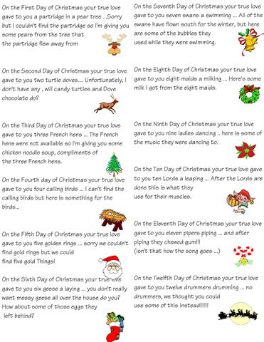 12 days of Christmas idea