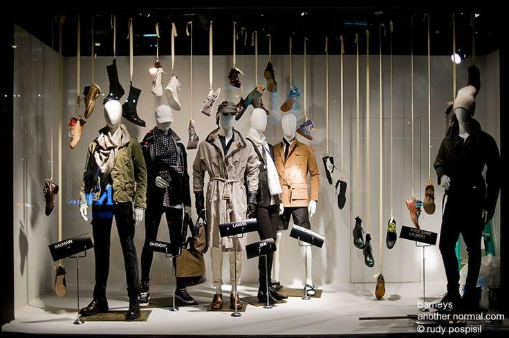 Clothing store window displays