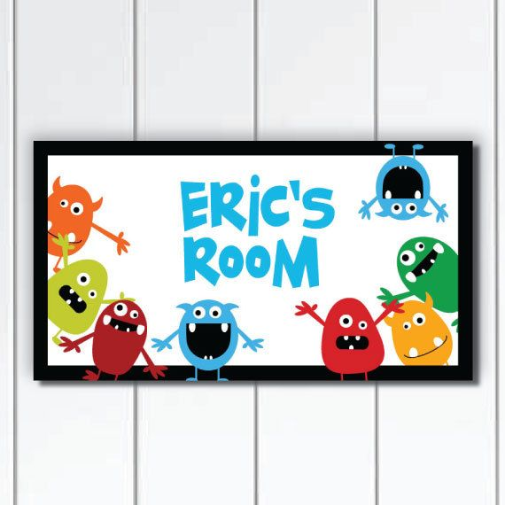 Personalized Kids Door Sign, Cute and Fun Colorful Monsters, Nursery Wall Art